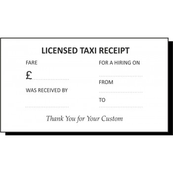 Licensed Taxi Receipt Pads