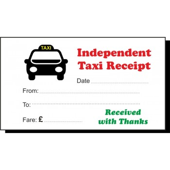 Red & Green Independent Taxi Receipt Pads